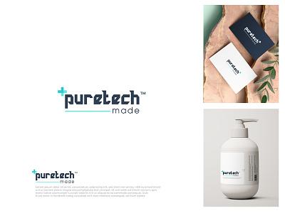 puretech+ business logo business card modern shop design brand identity branding design brand design flat logo branding minimal typography illustration brand vector icon brandauxin