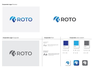Roto custom logo modern logo blackandwhite grayscale gradient logo colorful gradient montserrat roto design logo branding flat minimal typography illustration brand icon vector brandauxin