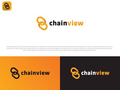 Chainview ux web blue modern custom logo business logo ui design minimal 3d branding logo graphic design animation typography illustration brand icon vector brandauxin