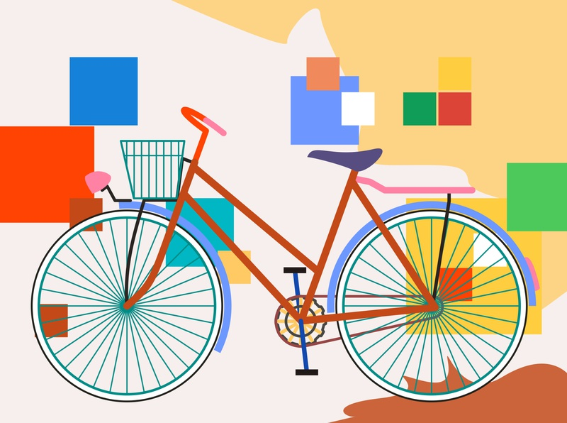 onthel bike colors afterwork creation flat illustration design
