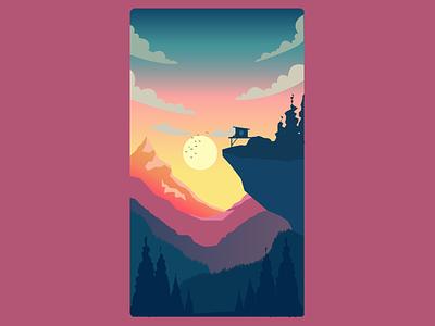 Dawn scenery view sun dark illustrator mountain landscape digital drawing digital art sunset ui app illustration