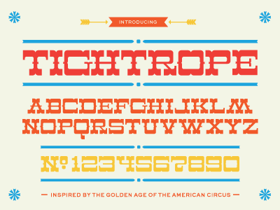 Dribbble 012 circus lost type co-op font tightrope bold curvy headline numerals excited