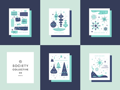 Dribbble 028 greeting cards holiday ornaments illustration snowflakes gifts identity branding winter