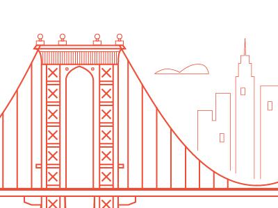 Dribbble 016 bridges illustration print cityscape architecture linear new york city