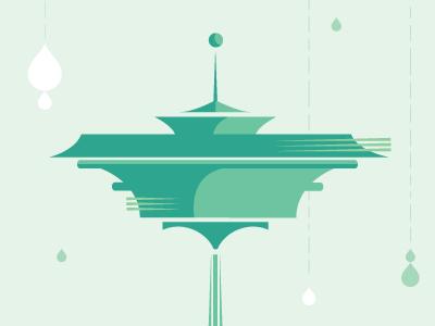 Dribbble 006 illustration seattle emerald space needle rain