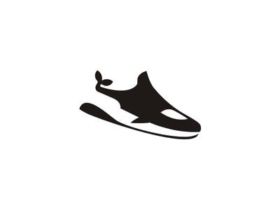 Sneaker and Killer Whale logomark fashion whale sneaker shoes logo