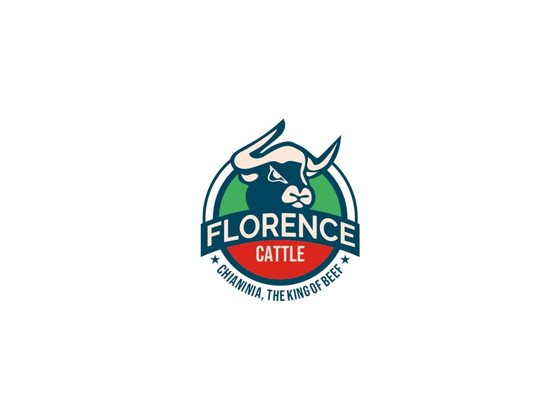 FLORENCE CATTLE meat beverages food grill steak beef badge animal logo
