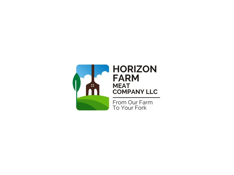 HORIZON FARM brand branding concept meat cow village country business family farm