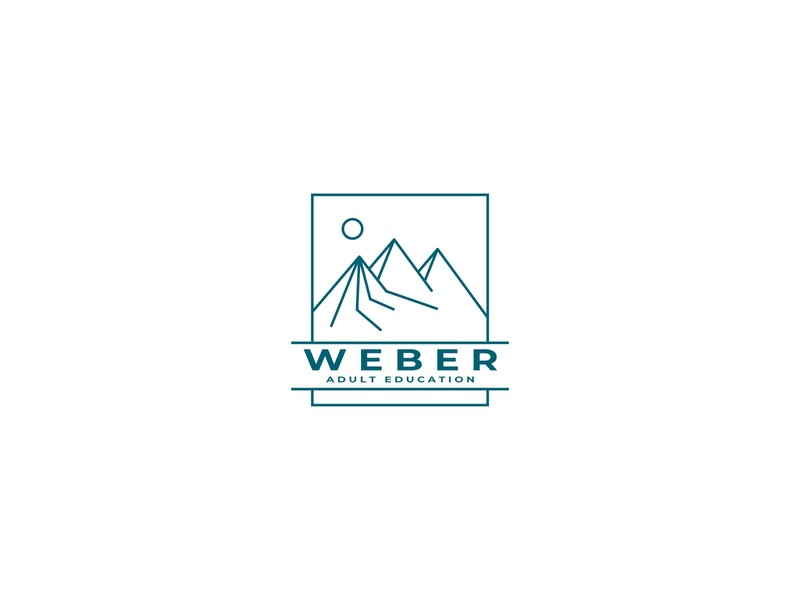 WEBER EDUCATION adult education adult logo emblem student study learn learning institution school education view mountain simple