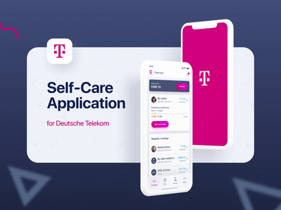 Self-Care Application for DEUTSCHE TELEKOM light clean minimal magenta application mobile app animation principle figma mobile ui mobile