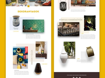 Website layout webshop clean minimal flying objects decor flat yellow layout website