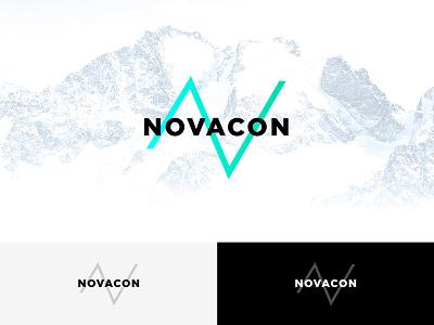 Novacon logo clean minimal green blue concept design logo