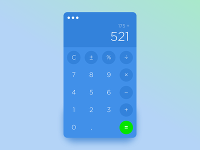 Dailyui 004 Calculator widget green blue number numbers calculator dailyui 004