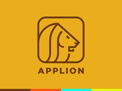 Applion logo orange line minimal icon logo lion app
