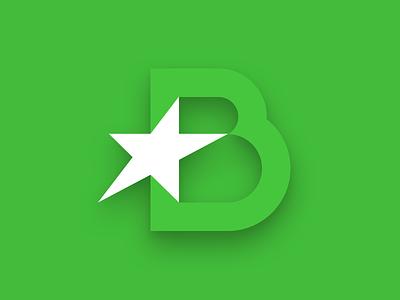 BoziskBajnokok Logo shadow flat green logo star b