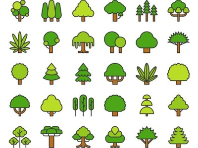 Plant A Tree Project (custom art/ trees for member badges) ui icon banners illustration clean design cute icon icons pack wordpress blog web design plants charity event media logo design agency custom lettering greenery trees plant app