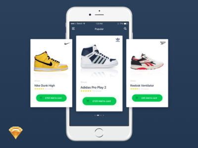 Shopping Card reebok nike adidas ecommerce shoes ios app sketch resource freebie
