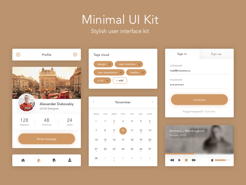 Minimal UI Kit tags sign up music profile web android ios download freebie kit ui
