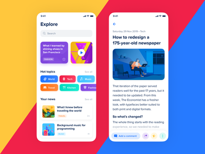 TrendNews – International News App tags post details discover browse explore ux ui clean blue white newspaper newsfeed news color mobile ios