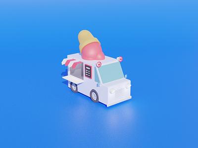 Ice Cream Truck art cute dessert food truck summer ice cream blender 3d illustration design