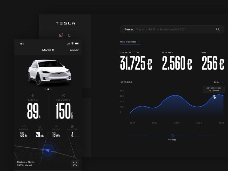 Tesla Concept car tesla dashboard app design ui