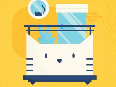 Balcony - Cat Series balcony cute animal cat affinitydesigner vector art vector illustration design