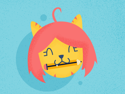 Bite pencil - Cat Series summer challenge cute animal cat affinitydesigner vector art vector illustration design