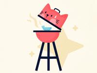 Barbecue - Cat Series flat challenge summer cute animal cat affinitydesigner vector art vector illustration design