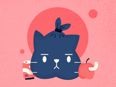 Rubbish - Cat Series challenge flat summer cute animal cat affinitydesigner vector art vector illustration design
