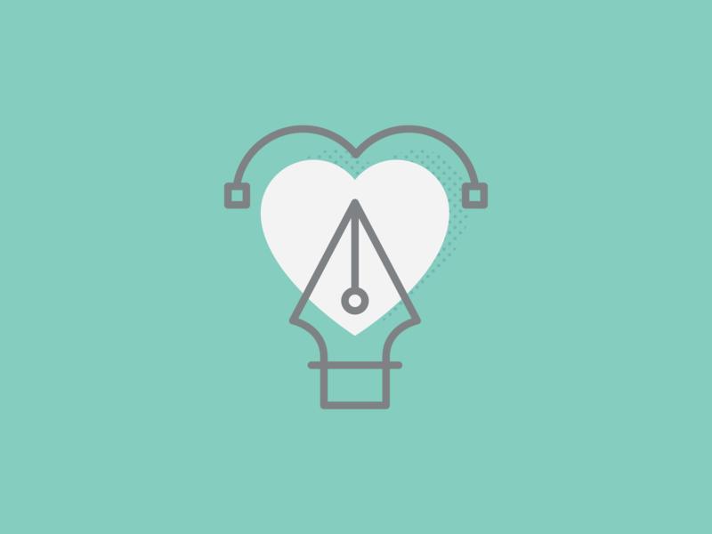 Design - Icon dot pattern pen drawing heart vector art pen icon vector illustration design