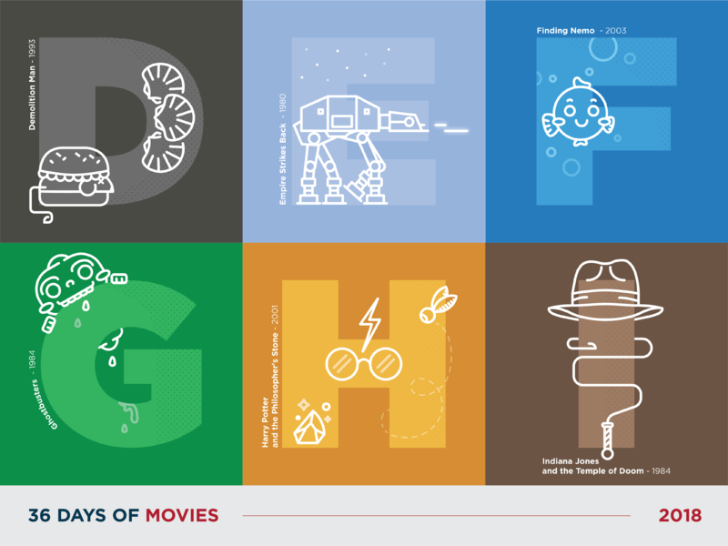 36 Days of Movies - D to I movie typography vector art icon dot pattern vector illustration design 36daysoftype