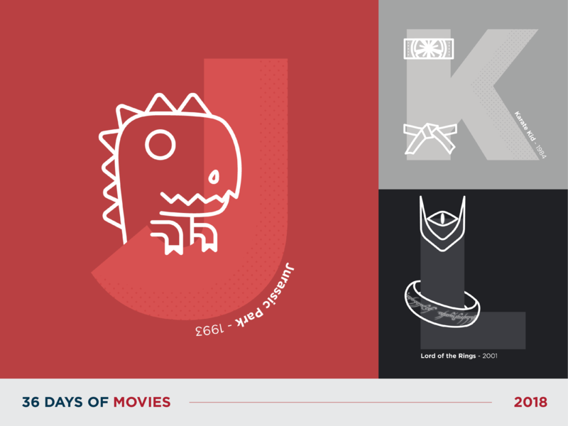 36 Days of Movies - J to L 36daysoftype typography movie flat vector art icon dot pattern vector illustration design