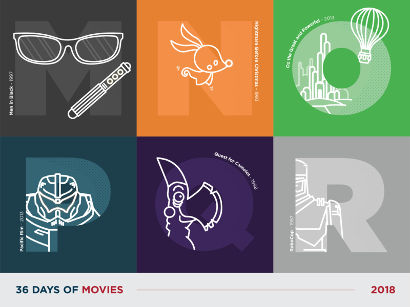36 Days of Movies - M to R typography 36daysoftype vector art icon dot pattern vector design illustration