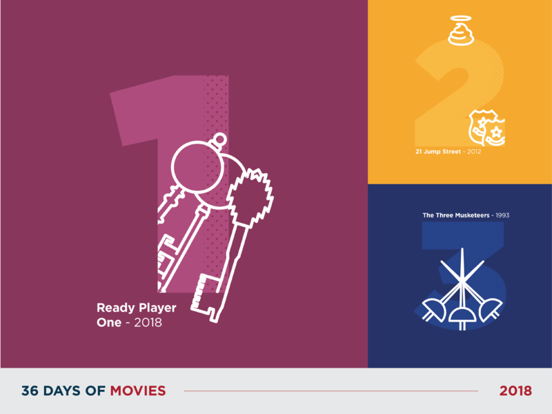 36 Days of Movies - 1 to 3 movie flat typography 36daysoftype icon vector art dot pattern vector illustration design