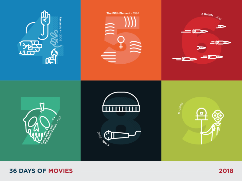 36 Days of Movies - 4 to 9 flat movie 36daysoftype icon vector art dot pattern vector illustration typography design