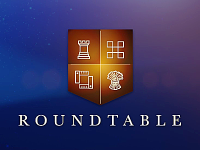 Roundtable Logo logo crest shield brown gold mark badcat