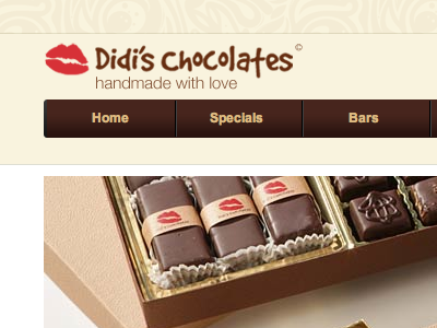 Didi's Chocolates - handmade with love badcat logo website brand brown chocolate red kiss adobe