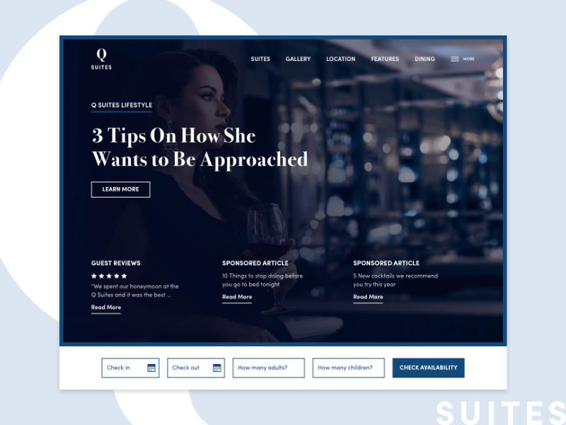 Q Hotels Blue Tones web design ui ux suite hotel