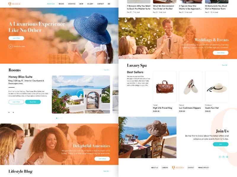 Q Suites Concept web design ui ux hotel suites