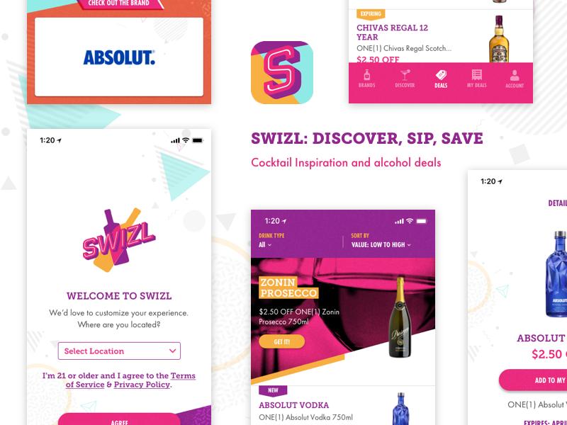 Swizl: Cocktail Inspiration & Alcohol Deals app design savings rebates inspiration product design ui ux cocktail ios swizl