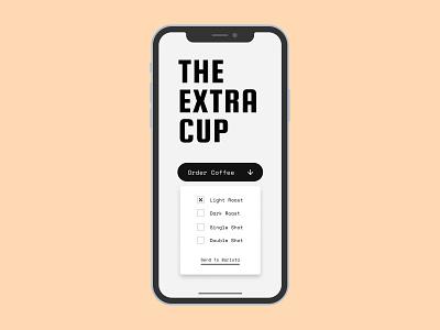 Daily UI #027 (Dropdown) black app white simple minimal clean typography dropdown menu ui ui design coffee dropdown dailyui