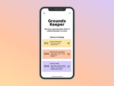Daily UI #030 (Pricing) work sans clean coffee app gradient minimal ui design ui typography simple colorful pricing coffee dailyui