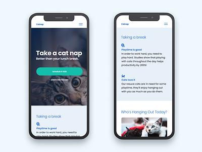Catnap: Morning UI cat site design uidesign blue white typography poppins minimal cats ui