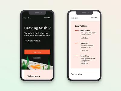 Sushi | Morning UI clean design order simple delivery food web design website mobile ui sushi pink pt serif pt sans typography ui designer ui design minimal