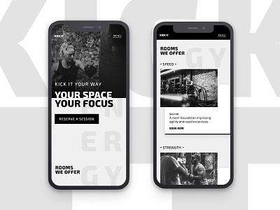 Kick It | Morning UI exo 2 clean typography design web design ui design minimal black  white black fitness center mobile ui design mobile ui simple fitness