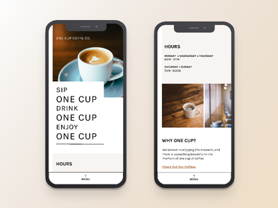 One Cup | Morning UI clean concept web design ui design simple white mobile ui mobile site cafe brown typography minimal uidesign ui coffee