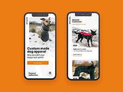 Dog Threads | Morning UI orange white animals dogs web design agency web design mobile ui design uidesign mobile ui mobile web store ecommerce simple design ui typography clean minimal