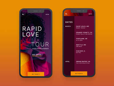 Rapid Love Tour | Morning UI music tour colorful inter purple tour site music web design web design agency web design music site tour music artist music ui design simple design ui typography clean minimal