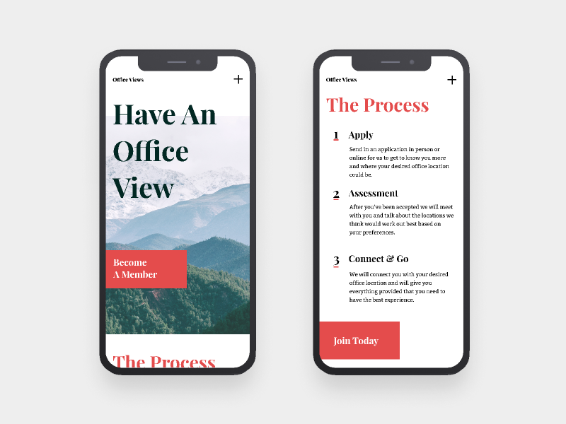 Office Views   Morning UI responsive site design mobile site mobile ui unconventional bitter playfair display serifs red workspace design simple design web design office white simple clean interface simple typography minimal