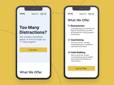 Clarity | Morning UI clear blue yellow clean web ui web design landing page site design mobile site mobile ui ui  ux design ui simple design typography minimal simple